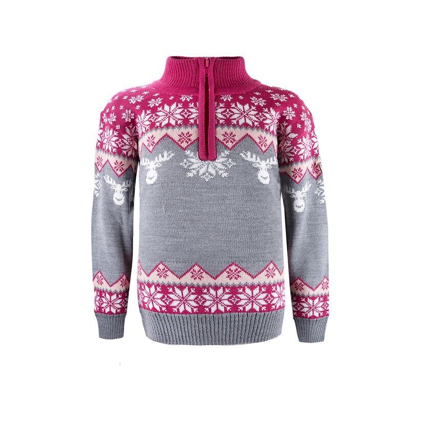 Detský pletený sveter Merino Kama 1012 ružová