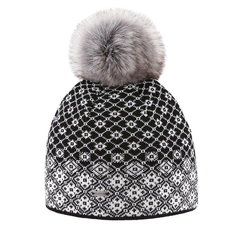 Merino knit hat Kama A158 - Black
