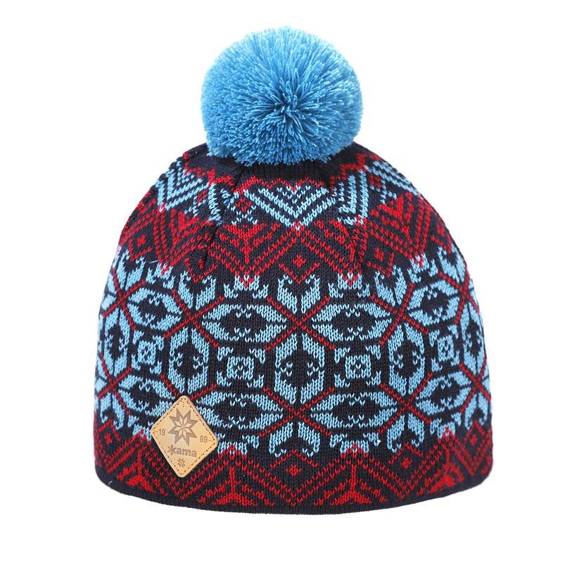 Căciula tricotată Merino Kama K65 - Albastru închis