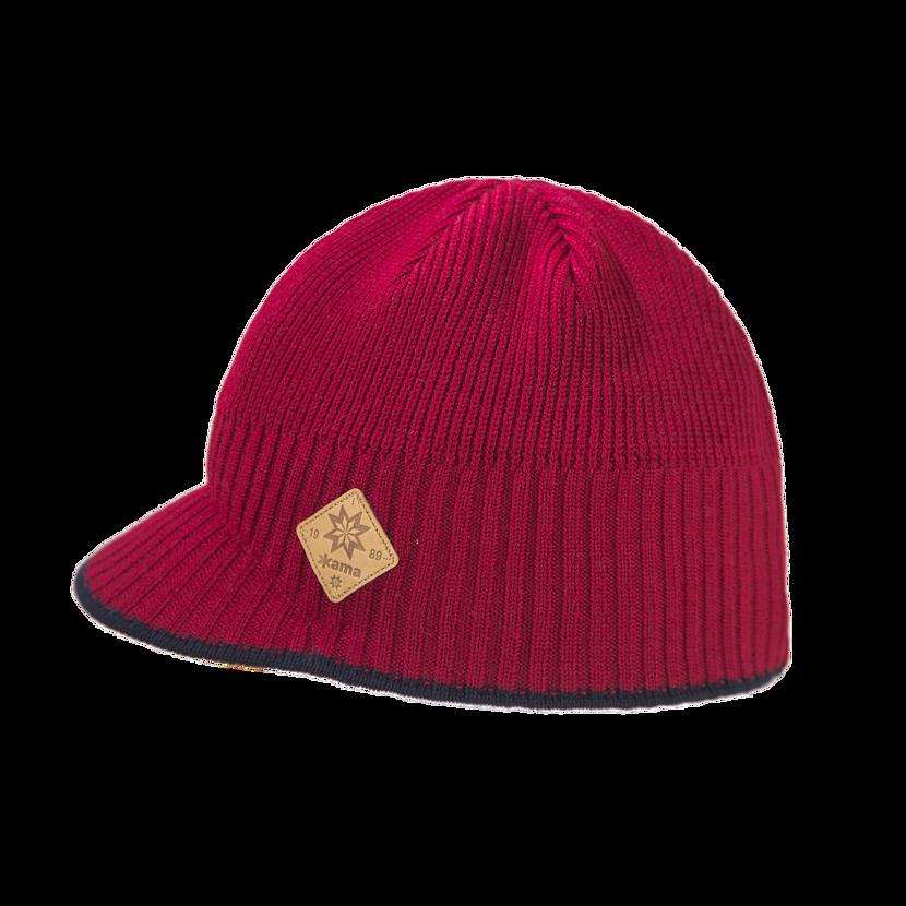 Pletená čepice merino  Kama A115 červená