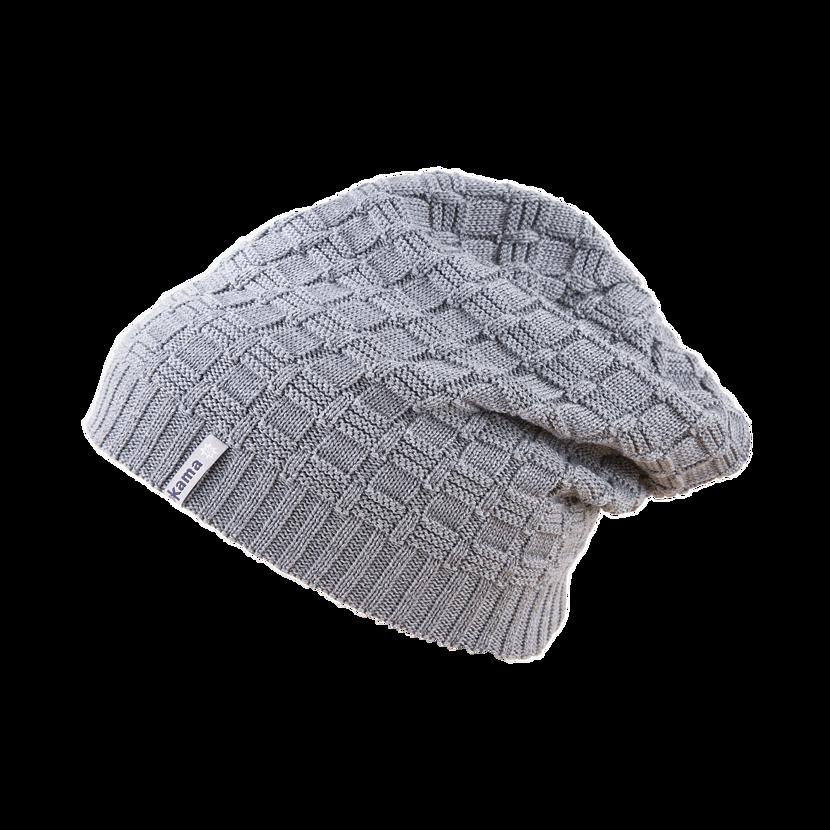 Pletená Merino čepice Kama A123 šedá