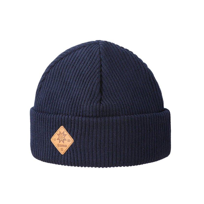 Pletená Merino čepice Kama A136 tmavě modrá