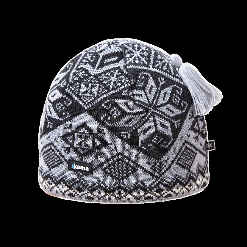 Pletená čiapka Merino Kama AW61 Čierna