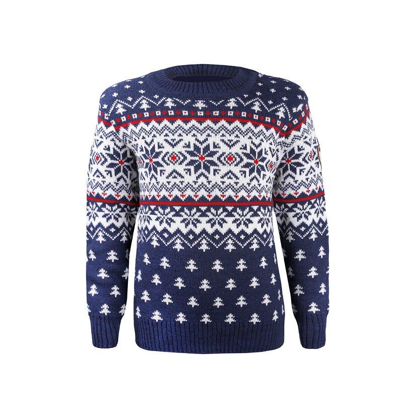 Detský pletený sveter Merino Kama 1013  tmavomodrá