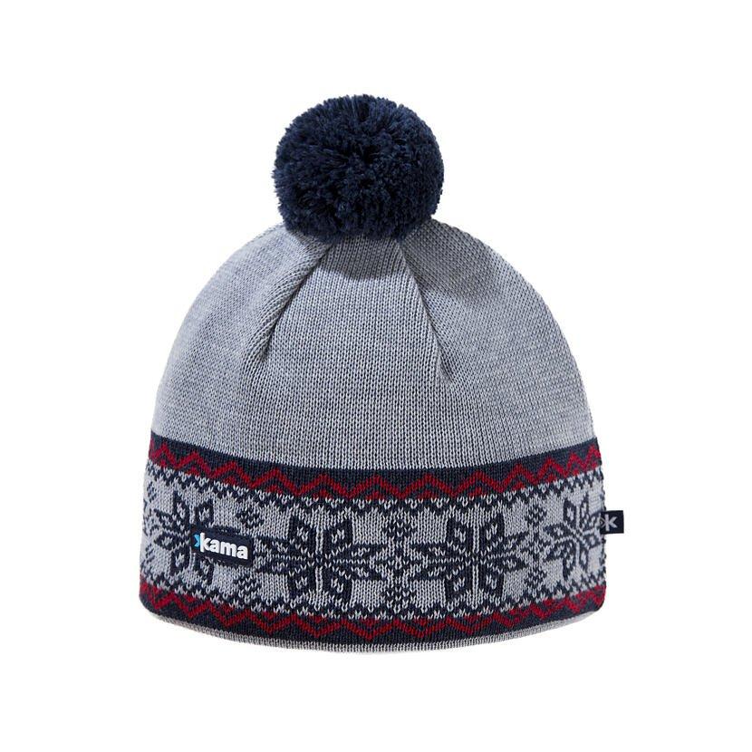 Pletená čiapka merino KAMAA116  sivá
