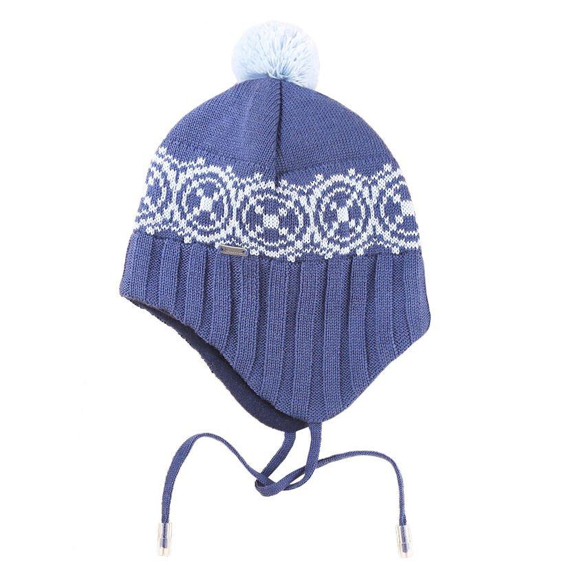 Căciula tricotată Merino pentru copii Kama B92 - Albastru închis