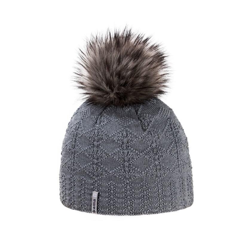 Pletená čiapka Merino Kama A109 sivá