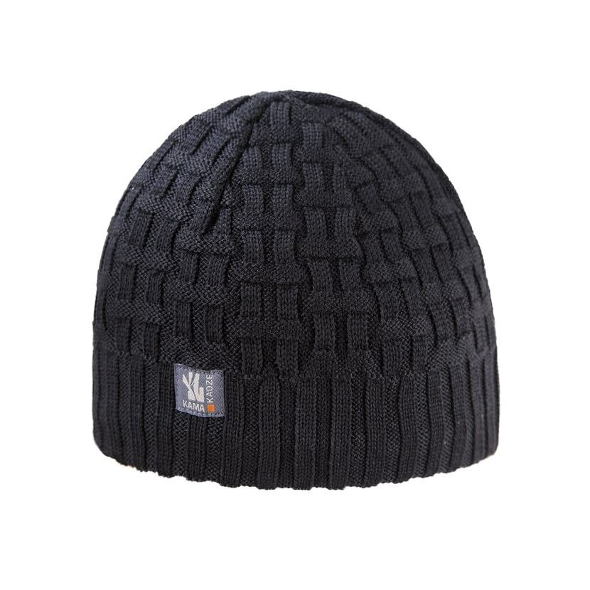 Pletená čiapka merino KAMAA112  čierna