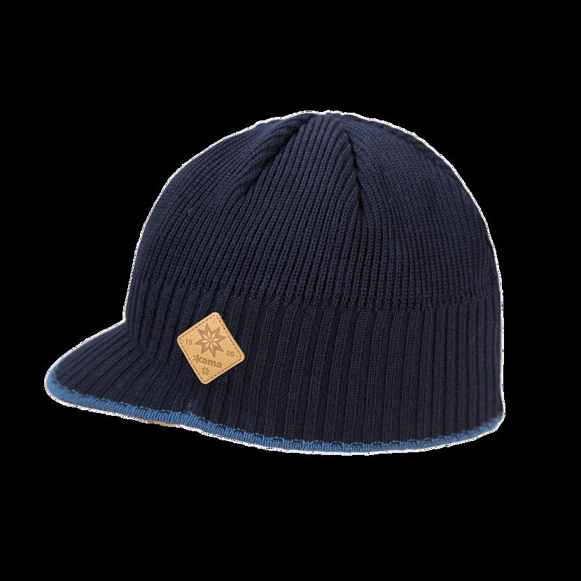 Pletená čepice merino  Kama A115 tmavě modrá