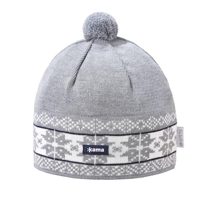 Pletená čiapka Merino Kama AW68 Sivá