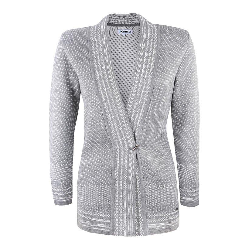 Pletený Merino cardigan svetr Kama 5030 šedá