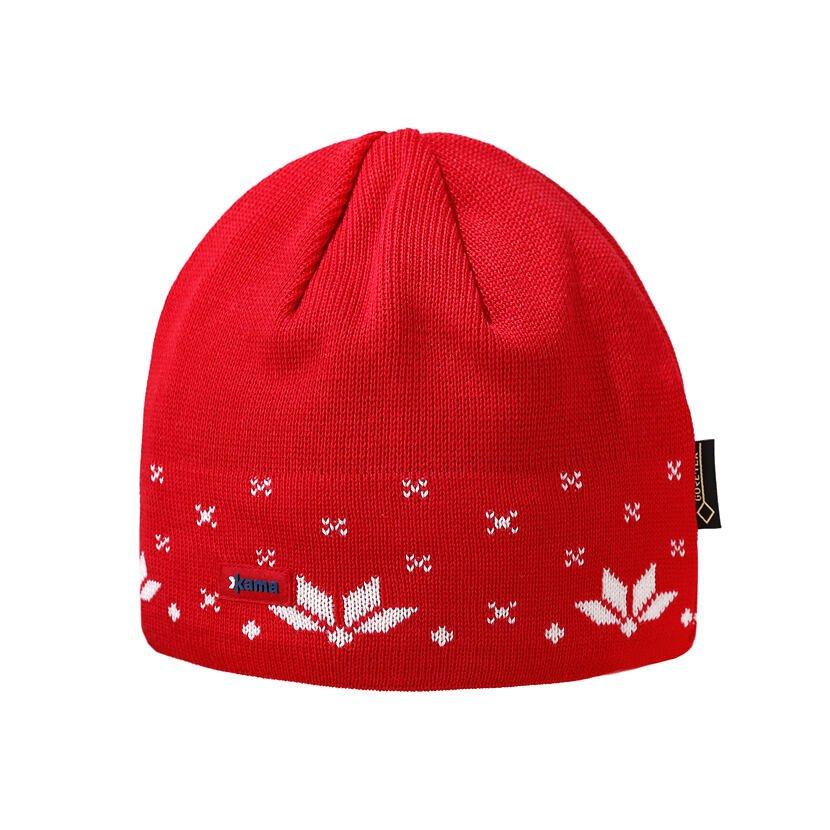 Pletená čiapka Merino Kama AG21 Červená