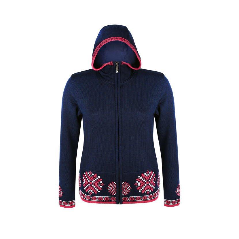 Pulover tricotat Merino pentru femei Kama 5035 - Albastru închis