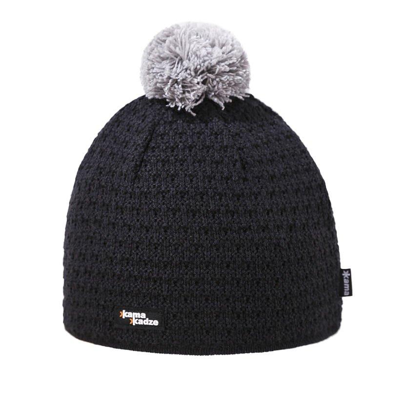 Pletená čepice Merino Kama K36 tmavě šedá
