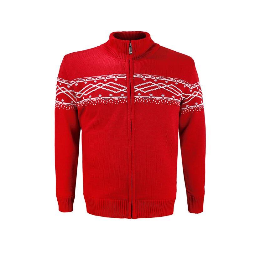 Pánský pletený svetr Merino Kama 3060 červená