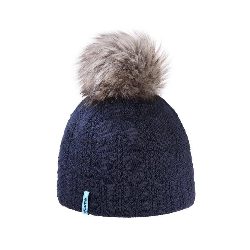Pletená čiapka Merino Kama A109 tmavomodrá