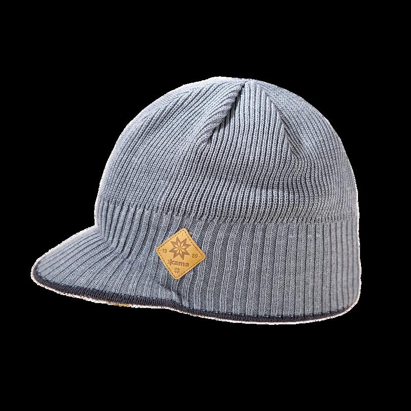 Pletená čiapka Merino Kama A115 sivá