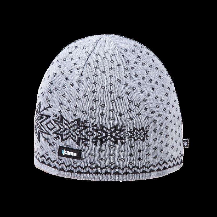 Pletená čiapka Merino Kama A128 sivá