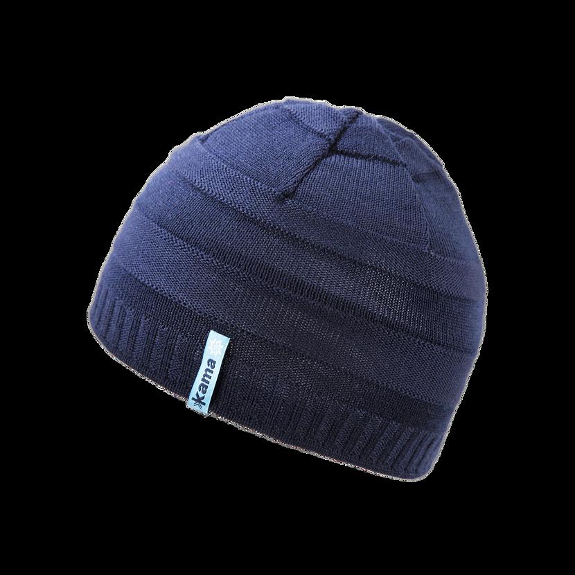 Detská pletená čiapka Merino Kama B78 tmavomodrá