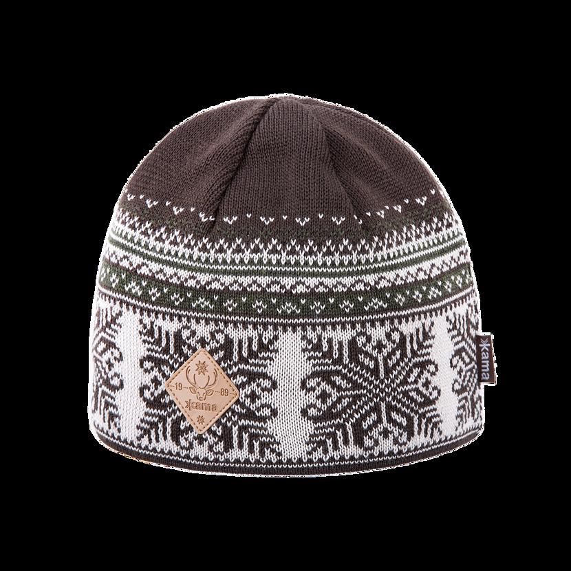 Knitted merino cap KAMA LW39 - Brown
