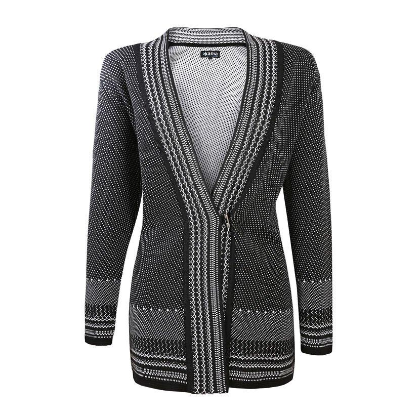 Knitted Merino Cardigan Sweater KAMA 5030 -  Black