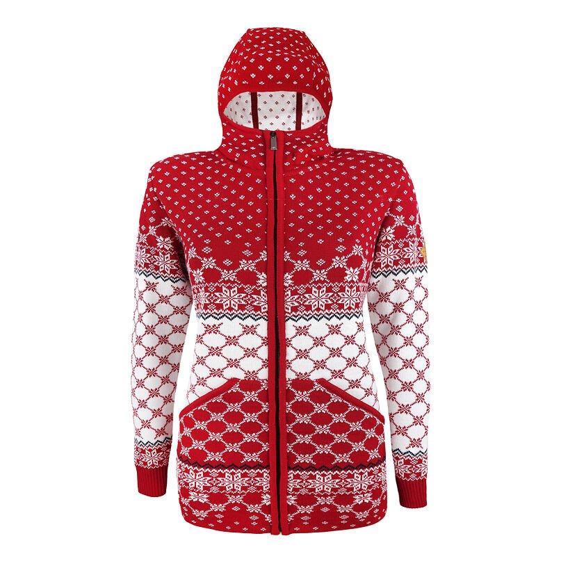 Dámsky pletený sveter Merino Kama 5027 Červená