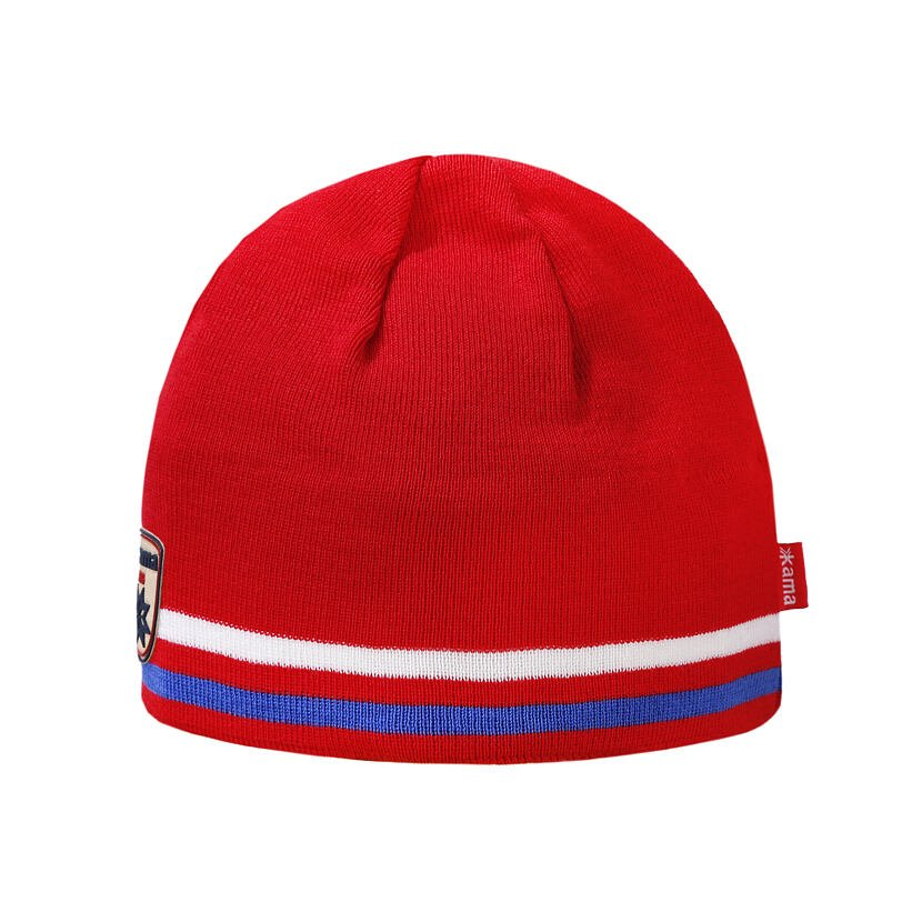 Knitted Merino hat KAMA A154 -  Red