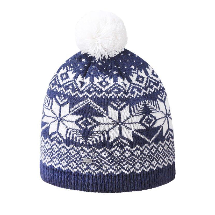 Pletená merino čepice Kama A151 tmavě modrá