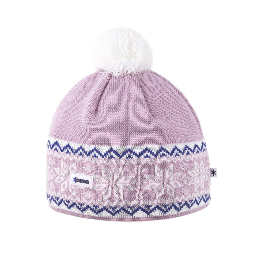 Pletená čepice Merino Kama A116 růžová