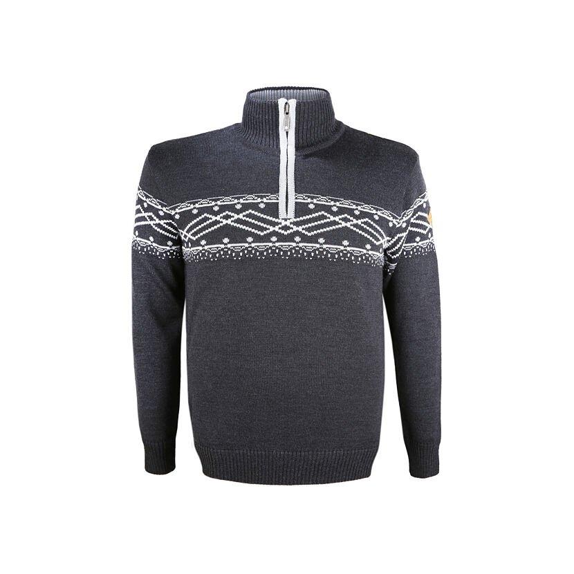 Pulover tricotat Merino pentru bărbați Kama 4060 - Gri închis