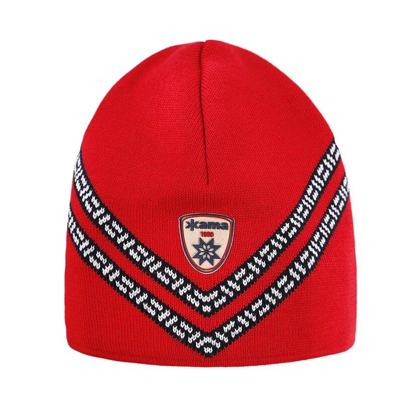 Pletená čiapka Merino Kama A156 červená