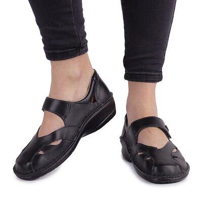 "Women's anatomical leather ballernias ""Anna"" -  Black"