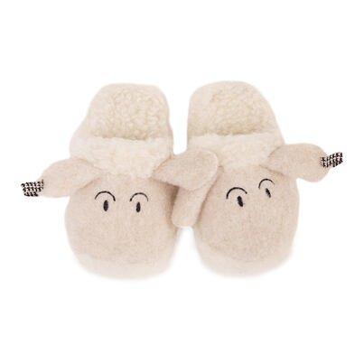 Dětské pantofle s ovčí vlnou ovečka