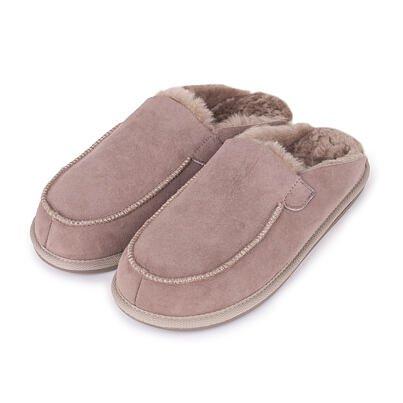Pánské kožené pantofle s ovčí vlnou Erik béžová