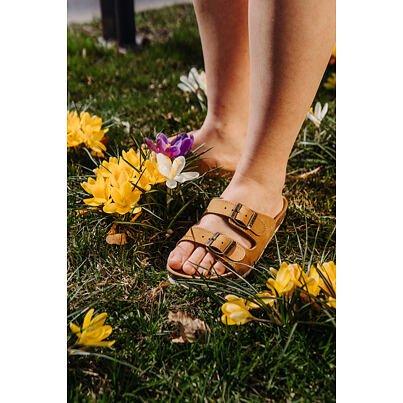 "Women's anatomical cork slippers ""Linda"" -  Beige"