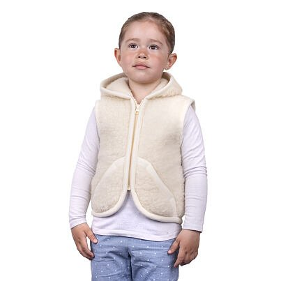 Children's sheep wool hooded vest -  Natural