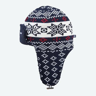 Knitted cap with earflaps merino Kama A114 - Off White