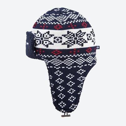 Căciulă tricotată cu clape peste urechi merino KAMA A114  Albastru închis