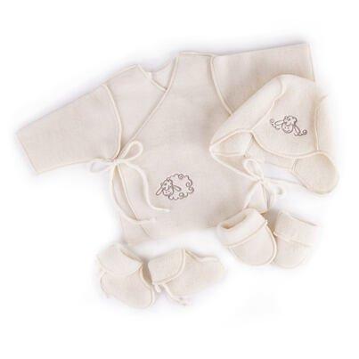 Set nou-născuți din lână - alb M