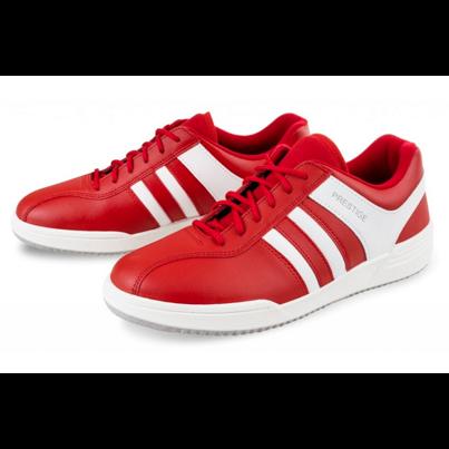 Teniși din piele cu velcro Prestige denim - Roșu