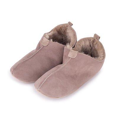 Kožené papuče s ovčou vlnou Andy  béžová
