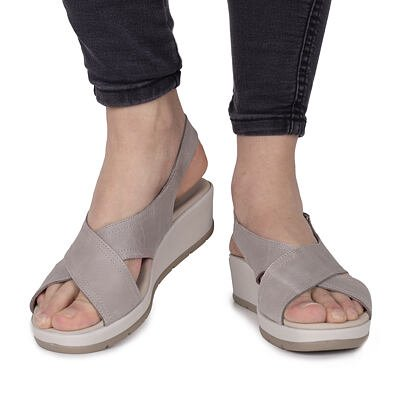 "Women's leather wedge sandals ""Dita"" -  Gray"