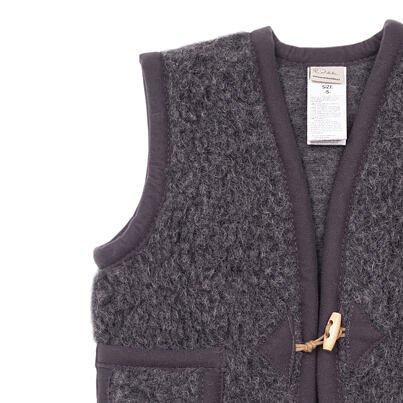 Dětská vesta z ovčí vlny s knoflíky tmavě šedá