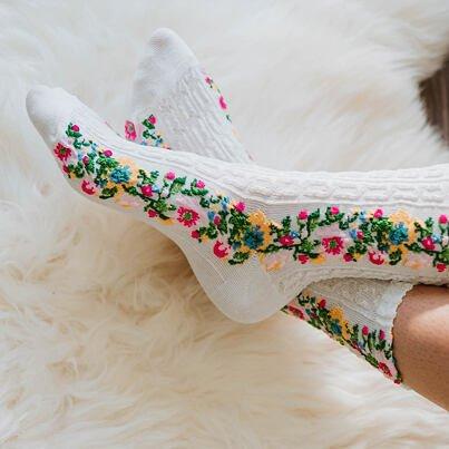 """Pamut zokni """"folklór""""  Fehér"""