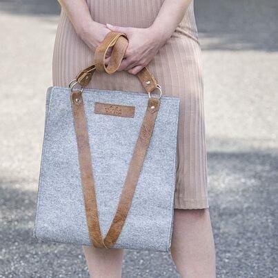 Felt handbag with leather handles - Gray