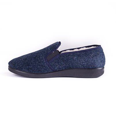 Men's non-slip slippers with sheep wool blue