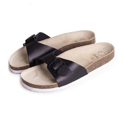 Păpuci ortopedici din plută pentru femei Laura  Negru