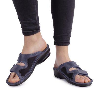 """Papuci anatomici din piele pentru hallux pentru femei """"Eva"""" – albastru"""