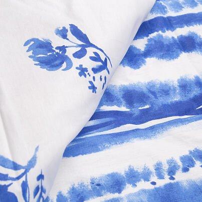 Pamut ágyneműhuzat - kék virág