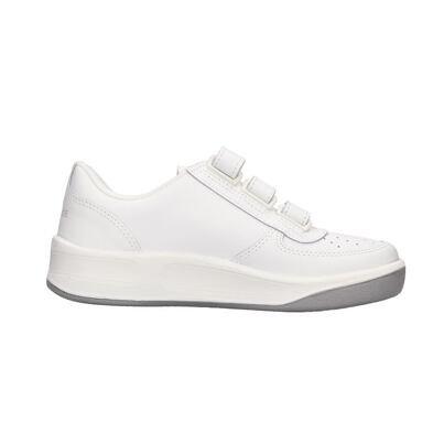 Tépőzáras bőr tornacipő Prestige - fehér